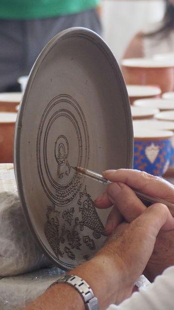 Ceramics Factory Rhodes Greece Bonis Ceramics Ceramic Art Craft Ceramic Plate Hand Made Design Human Hand One Person Hand Indoors  People Close-up