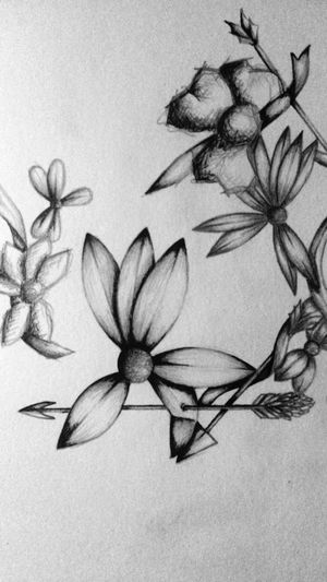 Flowers Arrow Drawing