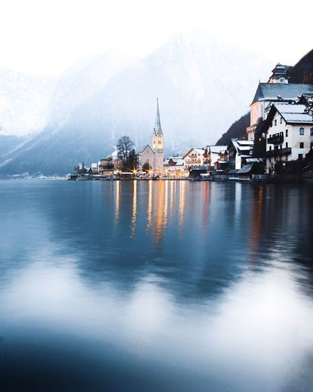 Hallstatt Architecture Mountain Building Exterior Built Structure Religion Day No People Spirituality Place Of Worship Travel Destinations Water Outdoors Scenics Tranquility Mountain Range Nature Sky Beauty In Nature