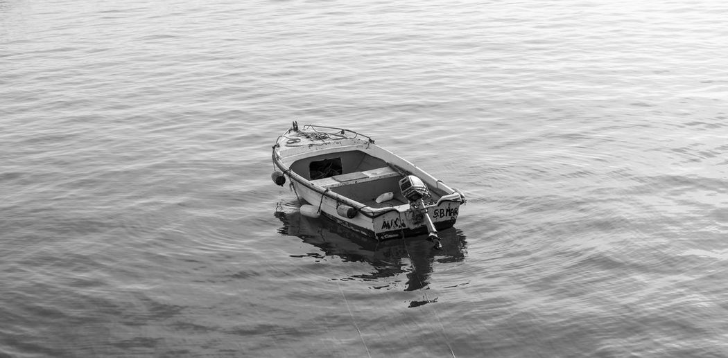 High angle view of boat in lake