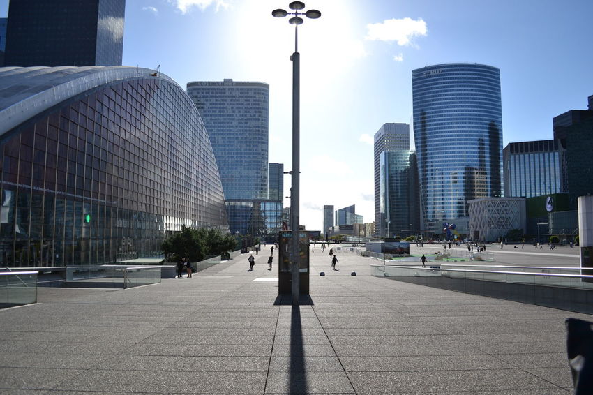 "In the ""Parisian Manhattan"", La Défense Architecture Building Capital Cities  City City Life Light And Shadow Modern Paris Skyscraper Street Light The Way Forward Urban Your Ticket To Europe"