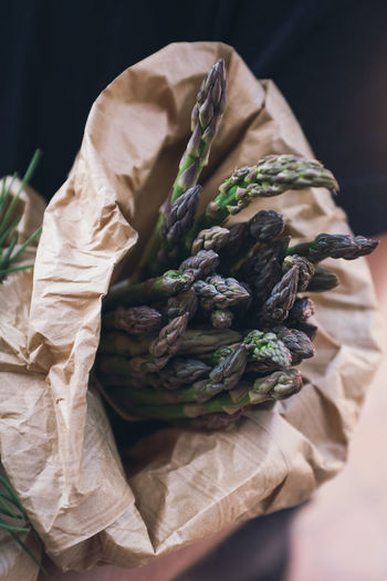 From the market. Asparagus Season Asparagus Bag Close-up Focus On Foreground Food Freshness Healthy Eating Organic Paper Bag Selective Focus Vegetable Wellbeing Wrapped