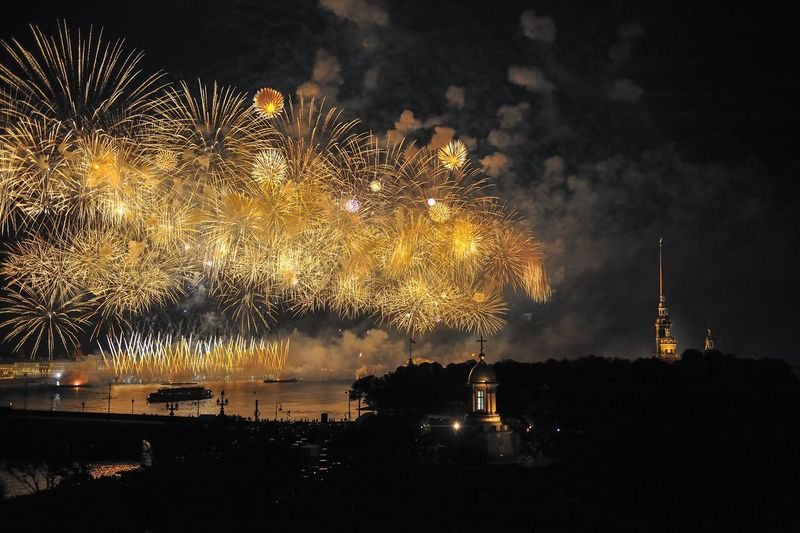 Idyllic Shot Of Firework Exploding By Peter And Paul Cathedral