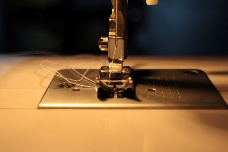 Close-up of sewing machine