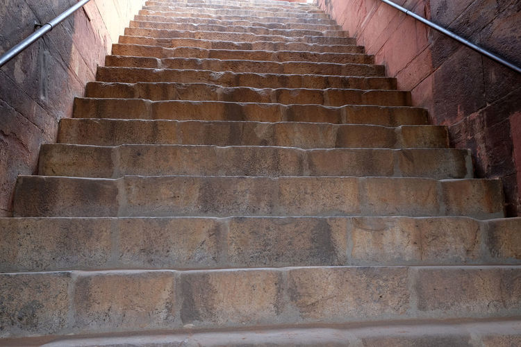 Stairs in Humayun's Tomb, built by Hamida Banu Begun in 1565-72, Delhi, India ASIA Delhi Empire Humayun India Persian Unesco Architecture Emperor Grave Heritage Historic Islam Mausoleum Moghul Mogul Mughal Old Palace Staircase Steps And Staircases Stone Tomb