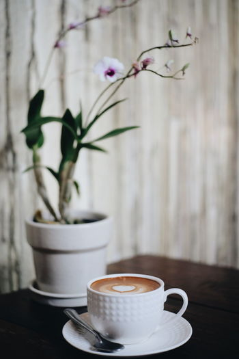 Latte Cafe Coffee Hot Drink Vase Coffee Cup Flower Coffee - Drink No People Indoors  Plant Close-up Drink Freshness Nature Day Mocha Flower Head