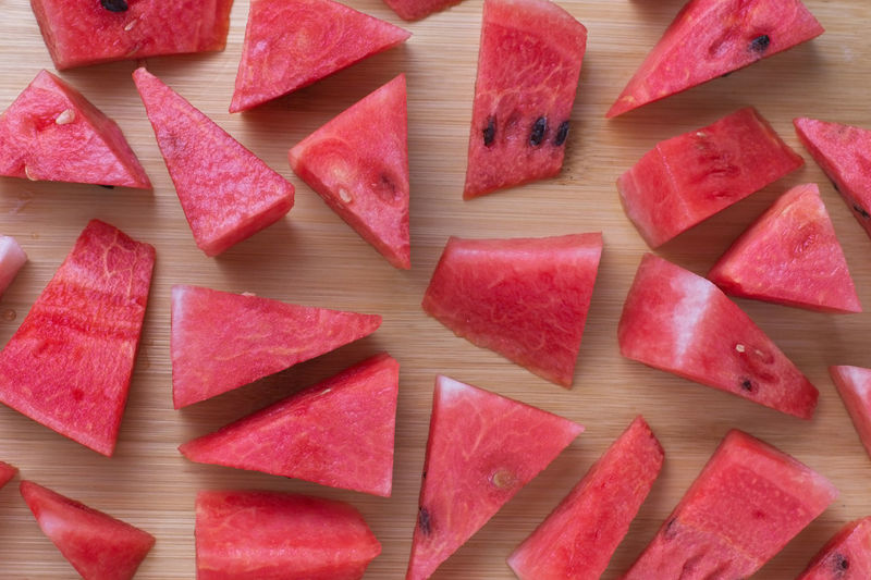 Full frame shot of chopped watermelon slices on table