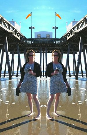 Beach Shore Surf Tide Pier Ocean City Nj  Sand coffee Barefoot summer Not Instagram Mirror Effect Mirror Image Portrait Of A Woman