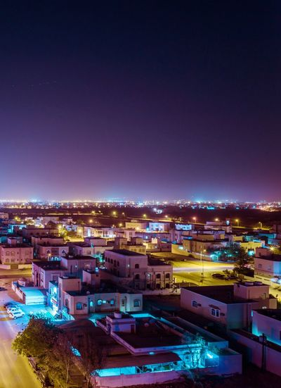 Oman Building Exterior Architecture Night City Illuminated Built Structure Sky Town Copy Space Residential District Lighting Equipment Nature No People Building Clear Sky Multi Colored High Angle View Cityscape Outdoors Nightlife