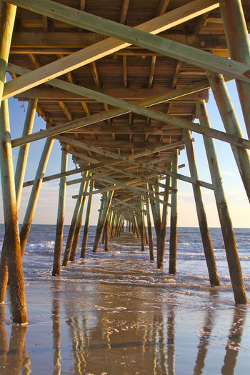Outer Banks, NC Reflection Architecture Beach Beauty In Nature Blue Built Structure Day Diminishing Perspective Horizon Over Water Nature No People Outdoors Pier Scenics Sea Sky Tranquil Scene Tranquility Underneath vanishing point Water