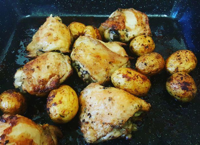 Chicken and roasties...