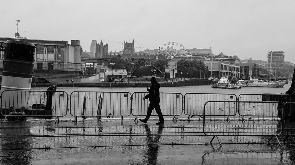 One Person City Real People Full Length Sky Water Day Outdoors Silhouette Bristol, England Black And White Rain