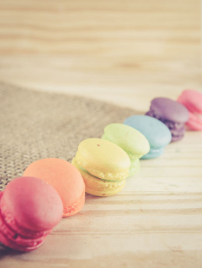 Close-Up Of Macrons On Table