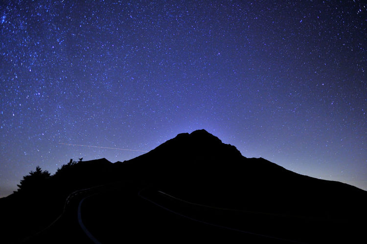 Mountains and stars in the night sky Astronomy Beauty In Nature Environment Galaxy Idyllic Mountain Nature Night Night Sky No People Non-urban Scene Purple Scenics - Nature Silhouette Sky Space Space And Astronomy Star Star - Space Star Field Starry Sky Tranquil Scene Tranquility Transportation Universe