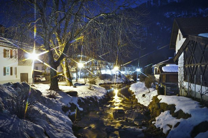 Winter Avaible Light LongTerm Long Exposure Starfilter Snow Available Light Winter Night Snowscape Nature Nightphotography Bavaria Bayrischzell Cold Temperature River Creek Water EyeEm Selects