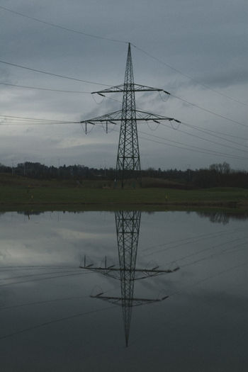 Beauty In Nature Cable Czech Republic Day Desaturated Electricity  Electricity Pylon Fuel And Power Generation Nature No People Outdoors Power Supply Prague Reflection Sky Symmetry Tranquility Tree Water