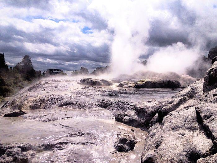 Nature Power In Nature Water Nature Beauty In Nature Scenics Geothermal  Geothermal Activity Newzealand Rotorua  Rotorua New Zealand Outdoors EyeEm Nature Lover EyeEmNewHere Smoke Rocks Travel EyeEmNewHere