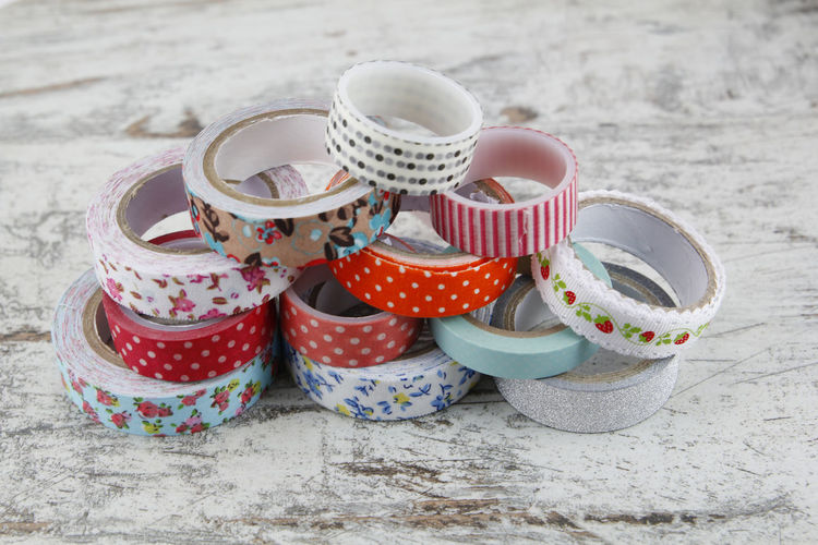 Colorful sewing coils isolated on white background Washi Tape Paper Traditional Scrapbooking Handicraft DIY Handcraft Japanese  Removable Beautiful Pile Heap Many Design Colorful Art Pattern Decoration Cute Fun Decorative Ornament Collection Greeting Label Ribbon Craft Hobby Scrapbook Sticker Roll Sticky Manual