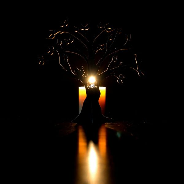 Reflection Silhouette Studio Shot Indoors  Wooden Tree Wood Tree Candle Darkroom No People Dark Yellow Red Close-up Single Object Illuminated Heat - Temperature Fire - Natural Phenomenon Flame Burning