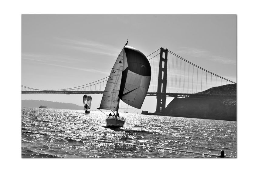 Sailing Aboard The Alma 4 Scow Schooner 80 Ft. Built 1891 Wooden-hulled Flat-bottomed The Alma Sailing San Francisco Bay Sailboats Golden Gate Bridge Lime Point Lighthouse Silhouettes Marin Headlands Freighters Bnw_friday_eyeemchallenge Bnw_water Monochrome_Photography Monochrome Black & White Black & White Photography Black And White Black And White Collection  Scenic Bridge Tower Bridge Span