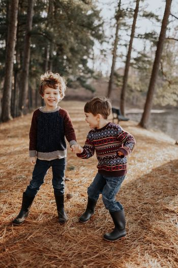 Be. Ready. Two People Full Length Boys Childhood Child Casual Clothing Males  Togetherness Smiling People Tree Happiness Cute Autumn Fun Children Only Wellbeing Day Standing Portrait Lifestyles Real People