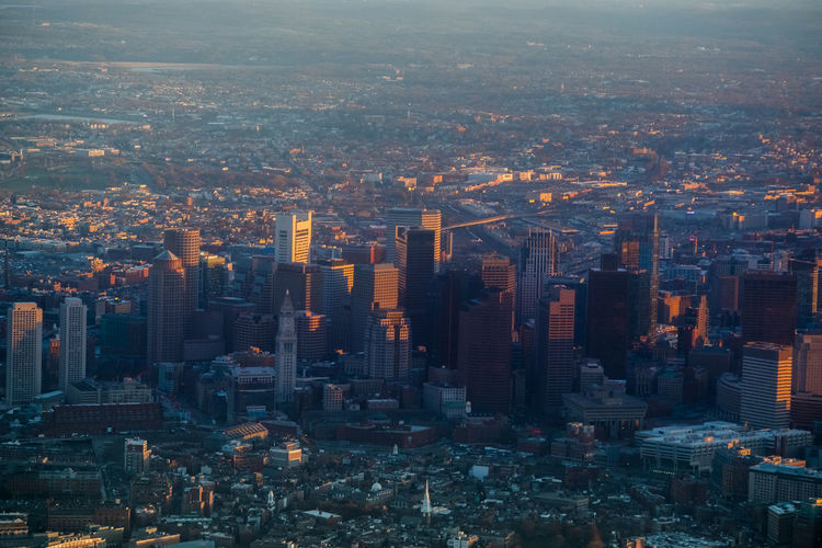 Topview Airplaneview Background Sunset Dowtown City Cityscape Urban Skyline Illuminated Modern Skyscraper Sunset Aerial View Horizon High Angle View Office Building Exterior Financial District
