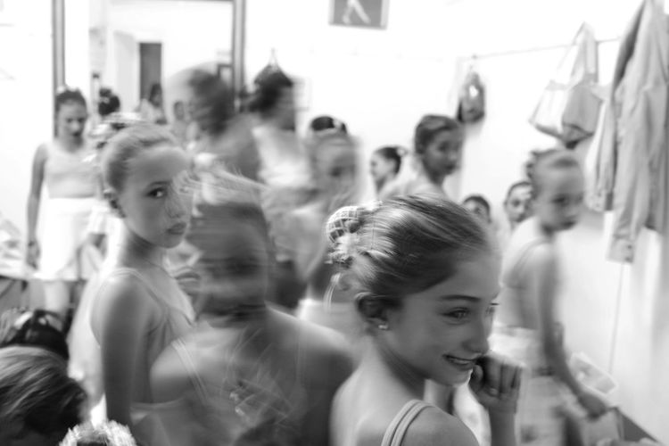 Black And White Dancers Excited Long Exposure Nervous Show Smiles Young Ballerinas