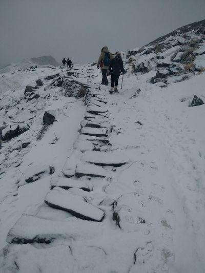 People Hiking On Snow Against Sky