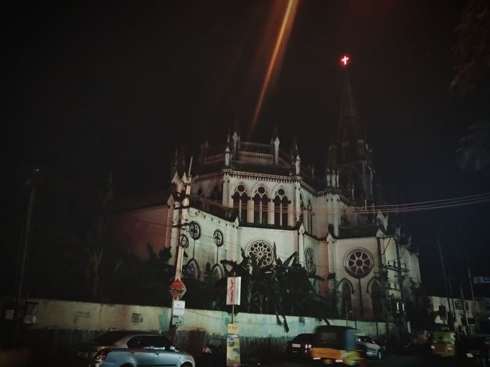 Our Lady of Lourdes Church Trichy Night City Lights City Life HUWAI Photo Award: After Dark Dark darkness and light Mobilephotography Candid BIG City Architecture Built Structure Place Of Worship Cathedral Church Religion Cross Spirituality Christianity Cityscape Historic Capture Tomorrow