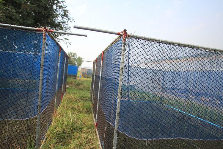 Netting On Field Against Sky
