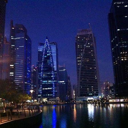 Dubai JLT Lights Skyscrapers Winter Lake Manmade Reflections