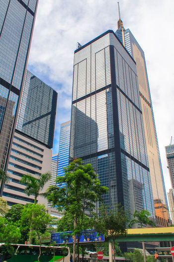 Modern office buildings in Central Hong Kong. Street Building Hong Kong HongKong Business Business Finance And Industry City Office Building Exterior Buildings Modern Modern Architecture Urban View China Skyscraper Architecture Skyline Downtown Tower District Glass