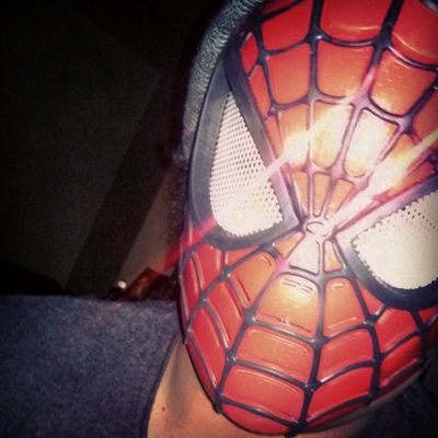 Just another Regular day in my life. Selfie Innerspider Happynerd Havingfun Toysrus Dressingup Random Mask Hobo Favorithero Marvel Spiderman Bored