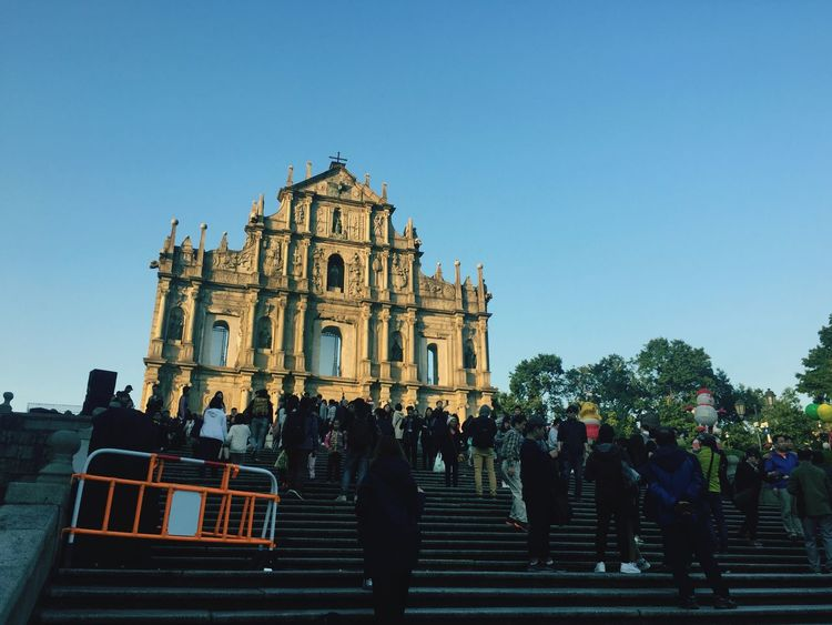Macau Heritage Macau, China Catholic Church Ruins Of St.Paul's Architecture Built Structure Large Group Of People Religion Real People Clear Sky Place Of Worship