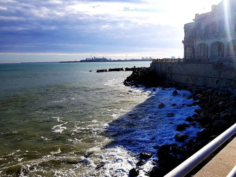 Cazino Constanta Sea Beach Water Outdoors Architecture Sky Sand Travel Destinations Horizon Over Water Building Exterior Day No People