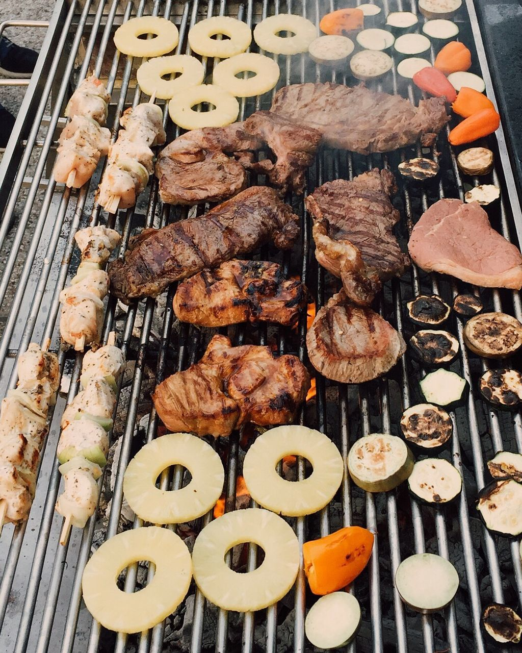 food and drink, food, barbecue, barbecue grill, grilled, skewer, meat, freshness, no people, high angle view, ready-to-eat, close-up, healthy eating, day, outdoors