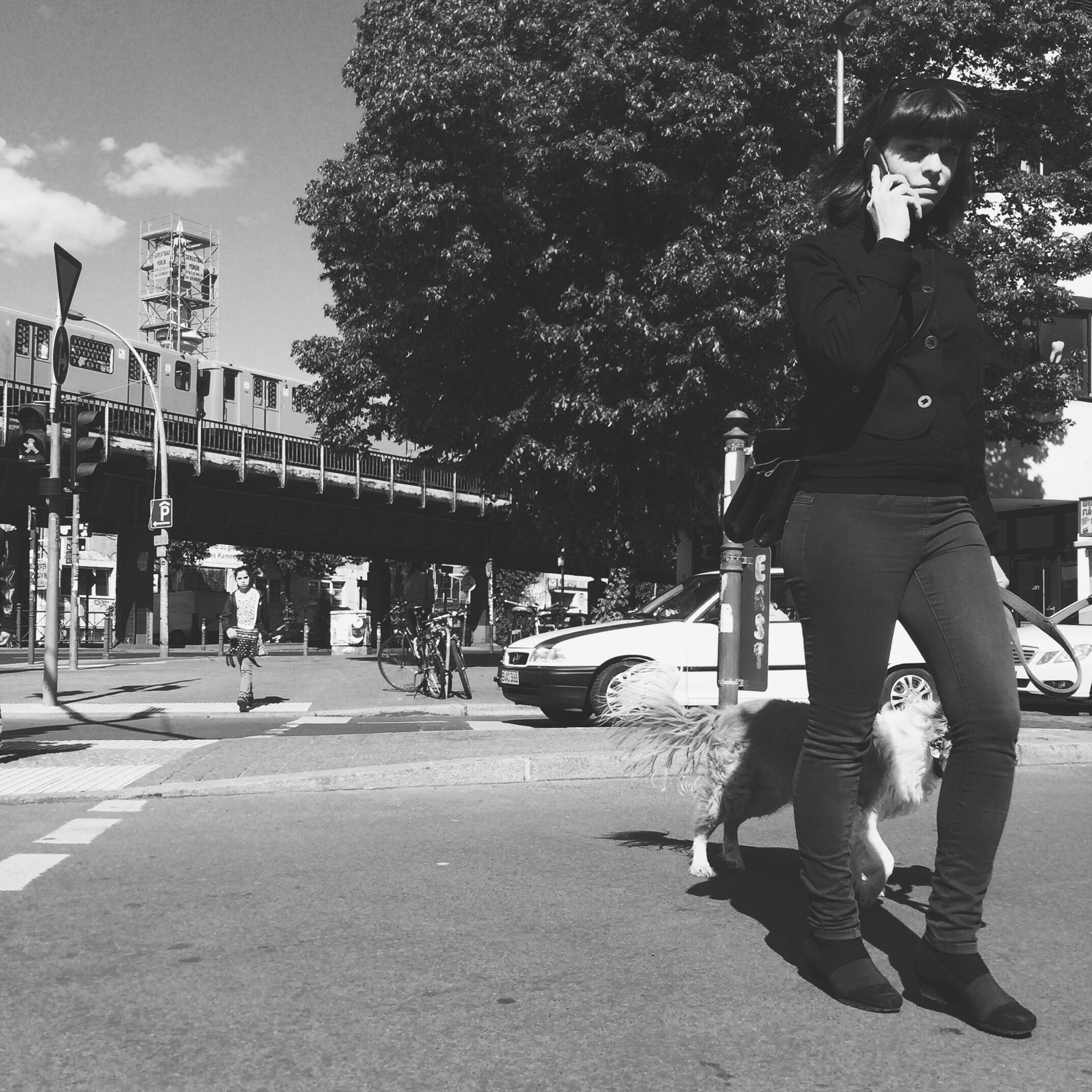 tree, full length, lifestyles, leisure activity, casual clothing, street, men, rear view, sunlight, shadow, walking, childhood, day, road, park - man made space, outdoors, person, sky