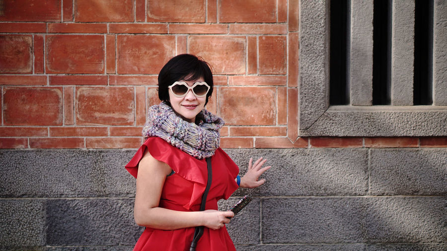 Red girl EyeEm Selects Portrait Sunglasses Looking At Camera Front View Standing Smiling Moments Beauty Beautiful Woman Modern Taking Photos Wonderful Day Fashion Taipei,Taiwan Taiwan Fashion Stories