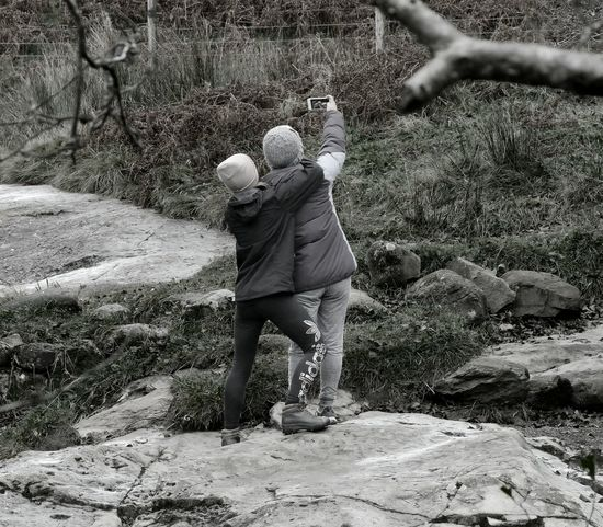 Selfie Black And White Couple Riverbank WoodLand Two People Outdoors People Candid Walking In The Woods Social Media Social Picsartrefugees