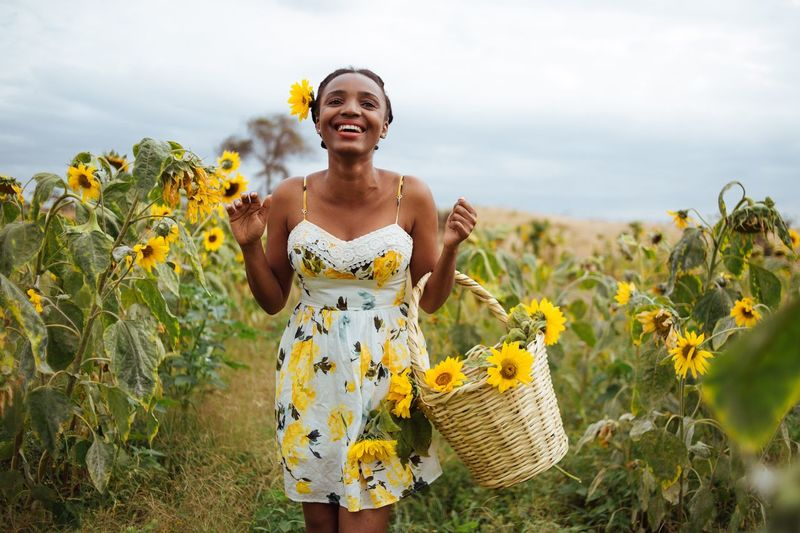 Smile Plant Smiling One Person Front View Growth Nature The Portraitist - 2018 EyeEm Awards Three Quarter Length Emotion Happiness Land Yellow Sky Field Flowering Plant Lifestyles Flower Day My Best Photo