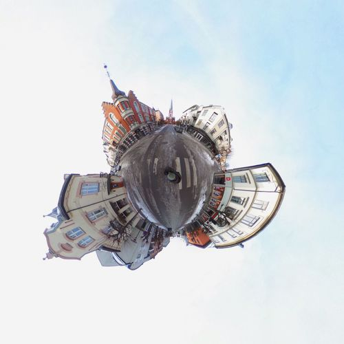 An evening in Sandefjord, Vestfold. #theta360 Tinyplanet Theta360 Theta Vestfold Sandefjord Norway EyeEm Selects Architecture Planet Earth Built Structure Sky Building Exterior Fish-eye Lens No People Outdoors Day Cityscape City Skyscraper