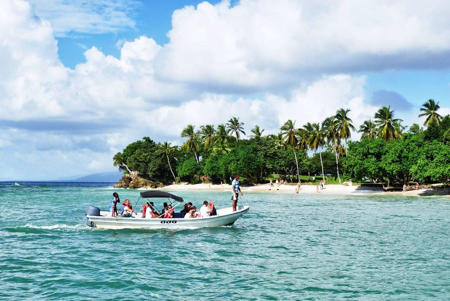On our way to Bacardi Island Cayo Levantado Samana Dominican Republic Nautical Vessel Transportation Sky Mode Of Transport Nature Water Large Group Of People Tree Cloud - Sky Beauty In Nature Men Palm Tree Real People Outdoors Sea Tranquil Scene Day Vacations Growth Tropical Island
