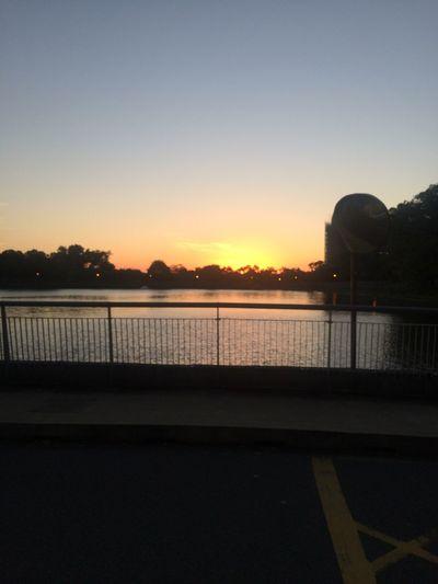我家對面的湖泊 夕陽 Sky Water Sunset Architecture Clear Sky Nature Built Structure First Eyeem Photo