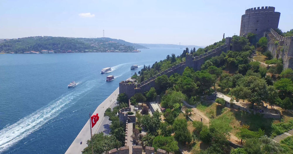 Aerial view of Istanbul Bosphorus Hisar Istanbul Aerial Architecture Bridge - Man Made Structure Building Exterior Built Structure City Cityscape Day High Angle View Kale Mode Of Transport Mountain Nature Nautical Vessel No People Outdoors Scenics Sea Seascape Sky Transportation Tree Water
