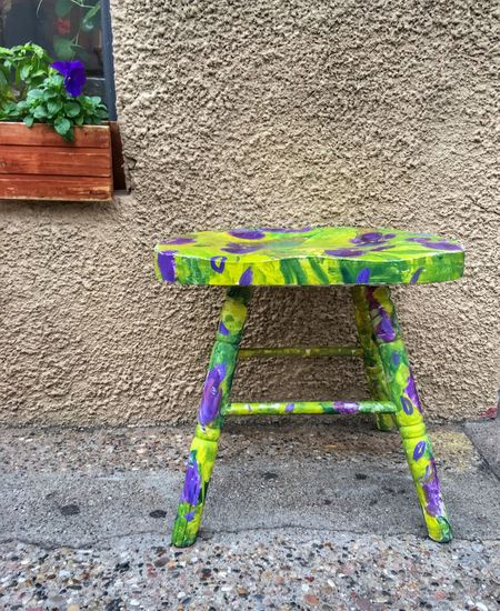Stool Wooden Multi Colored Pansies Flowers Jerome, AZ