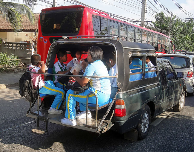 Driving To School Land Vehicle Mode Of Transport Outdoors Pick Up To School Students In Asia Transportation