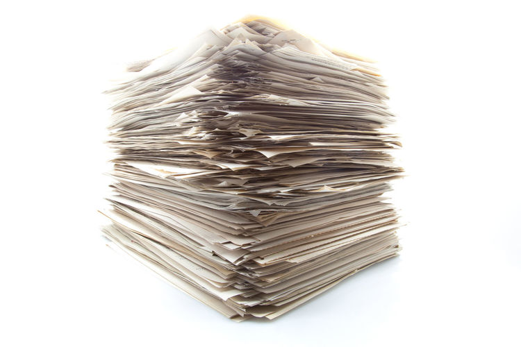 Close-up of stack against white background