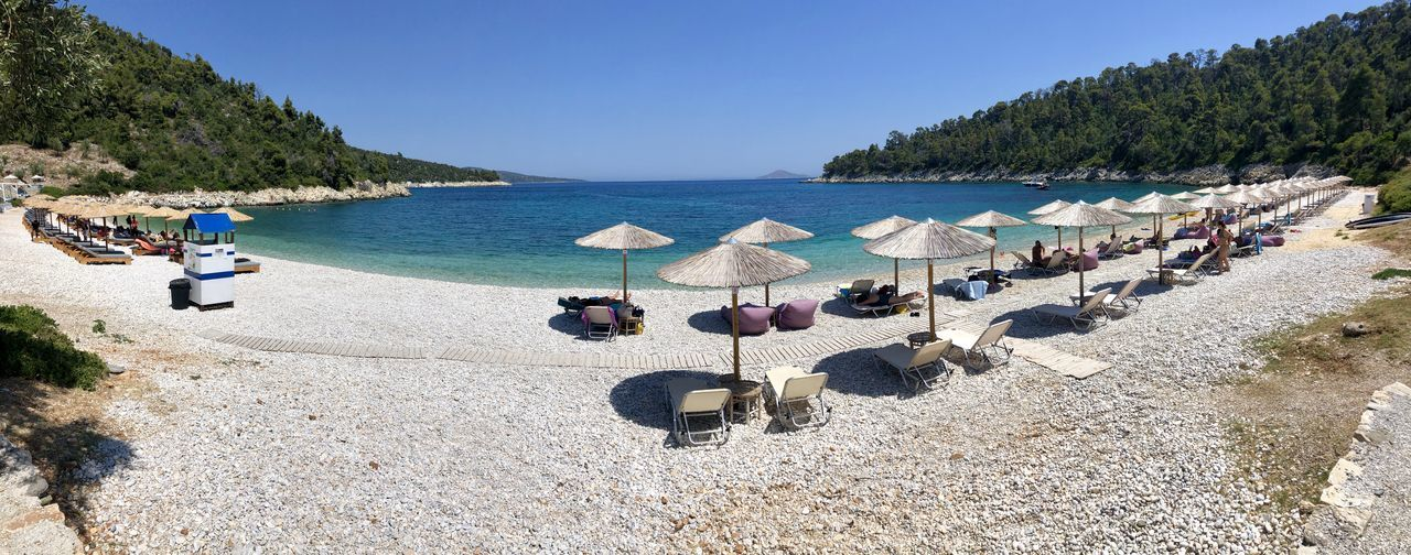 Panoramic view of beach against clear sky