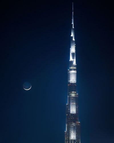 Dubai Architecture Astronomy Building Building Exterior Built Structure Burj Khalifa Burjkhalifaview City Full Moon Global Communications Illuminated Landscape Moon Moonlight Nature Night No People Office Building Exterior Outdoors Sky Skyscraper Space Tall - High Tower