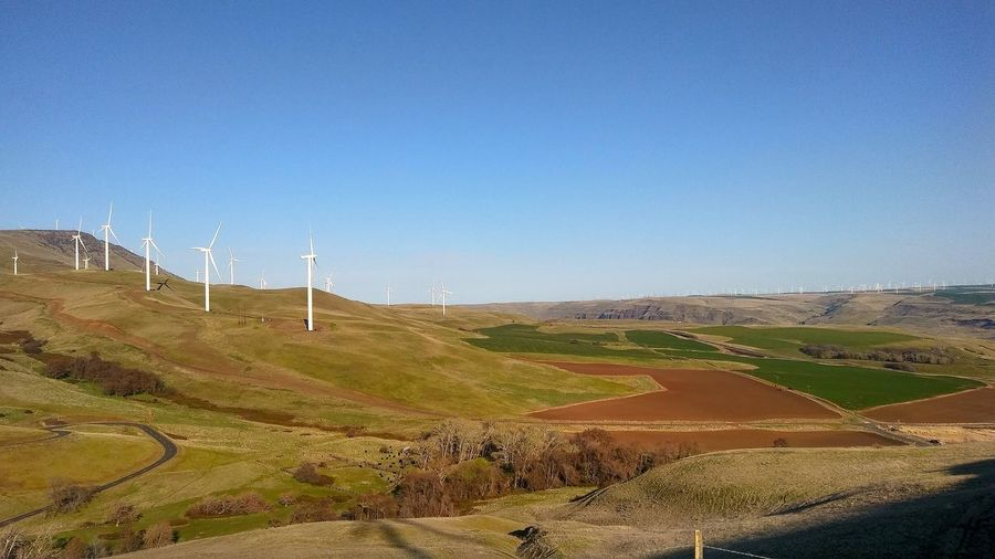 Rural Scene Technology Agriculture Fuel And Power Generation Clear Sky Wind Turbine Wind Power Field Sky Landscape